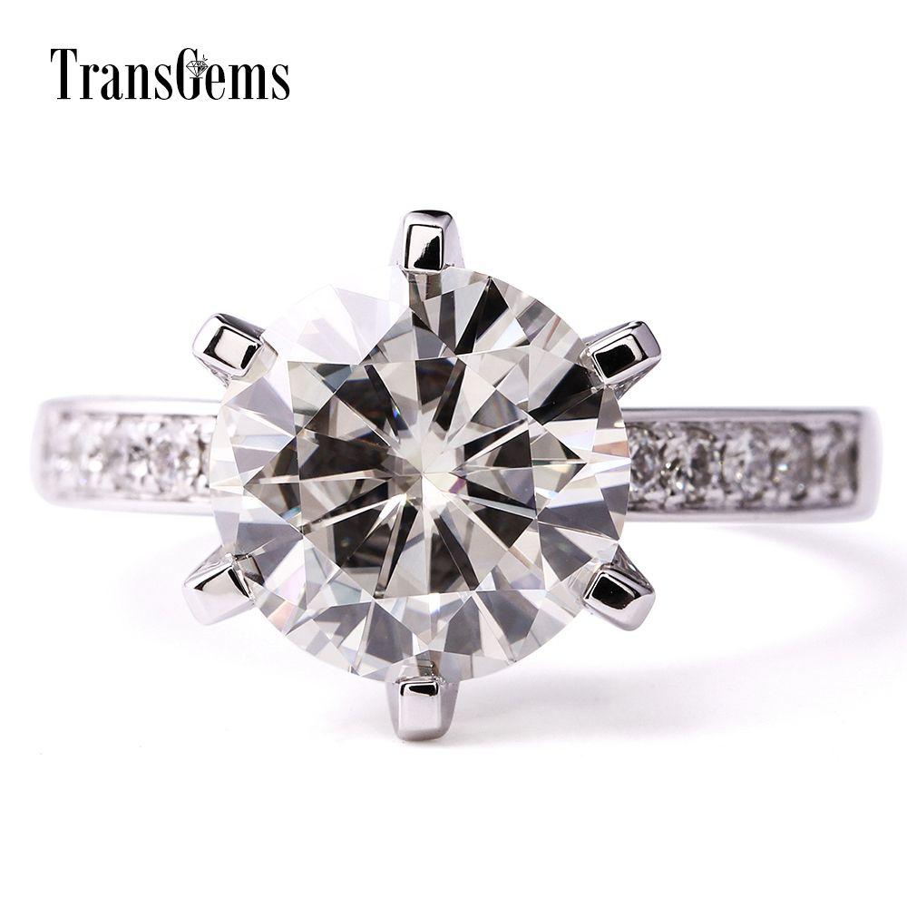 TransGems 14K oro blanco 6,0 quilates CTW crecidas laboratorio moissanita bodas de diamante solitario anillo de compromiso con acentos de la Mujer Y200620