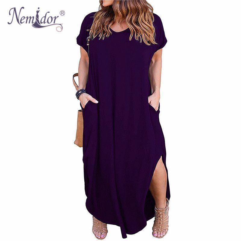Nemidor Women Short Sleeve V-neck Front Pocket Loose Casual Dress Plus Size 8XL 9XL Party Slit Long Maxi Dress T5190608