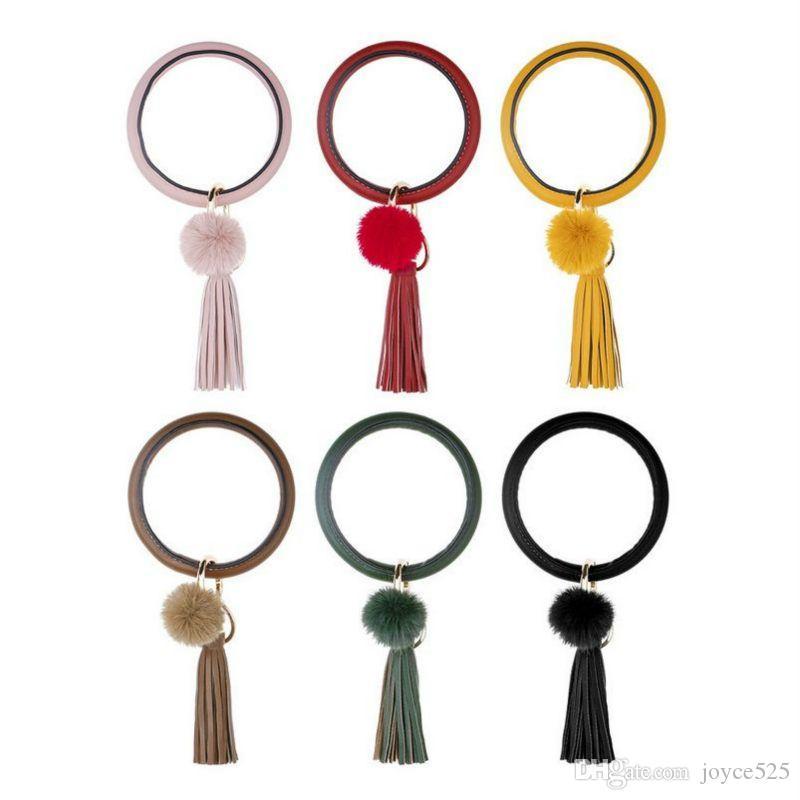 Новой Богемия Кожа PU Wristlet брелок браслет Мода Золото Серебро Браслет Большого круг брелоки кисточка для женщин высокого качества