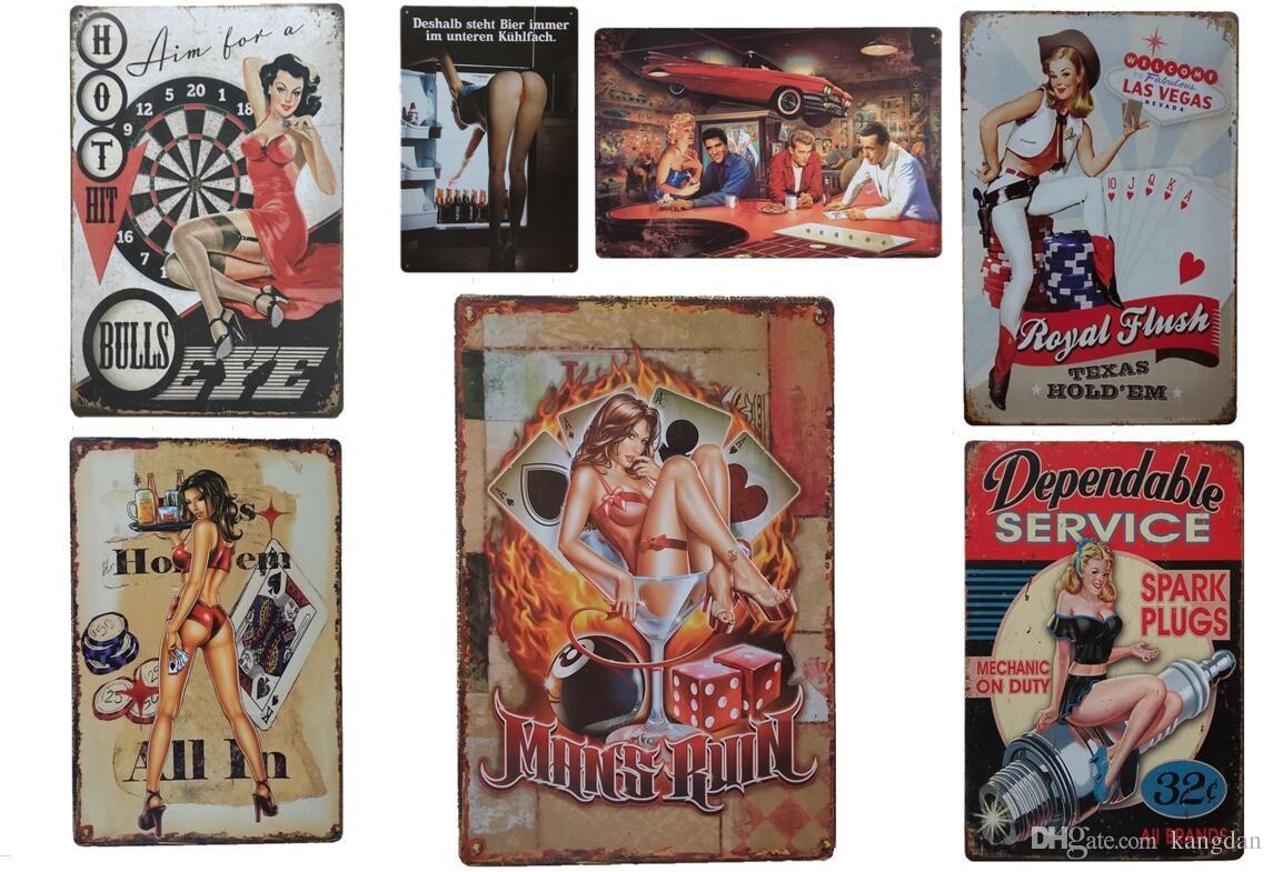 20 * 30 CM / 5 pcs muito Sinal Da Lata De Café ou Bar e Restaurante Sexy Lady Vintage sinais de Lata Arte Da Parede decoração Bar Metal Pinturas Lata Sinal