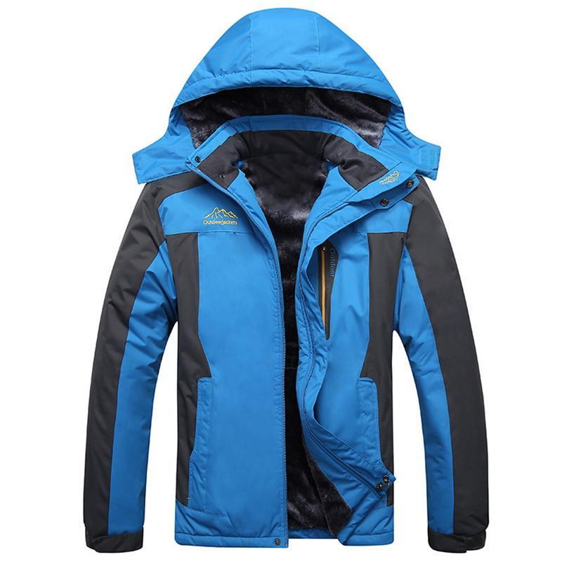 Fleece Hiking Winter Jackets Men Warm Hooded Waterproof Climbing Jacket Plus Size Parka Windbreaker Hoodies Jacket Coat Men New