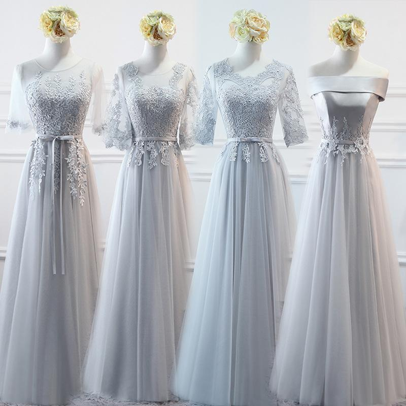 Full Dress Long Feast Meeting Evening Dress Toast Serve Bride Thin Gray Bridesmaid Serve Woman