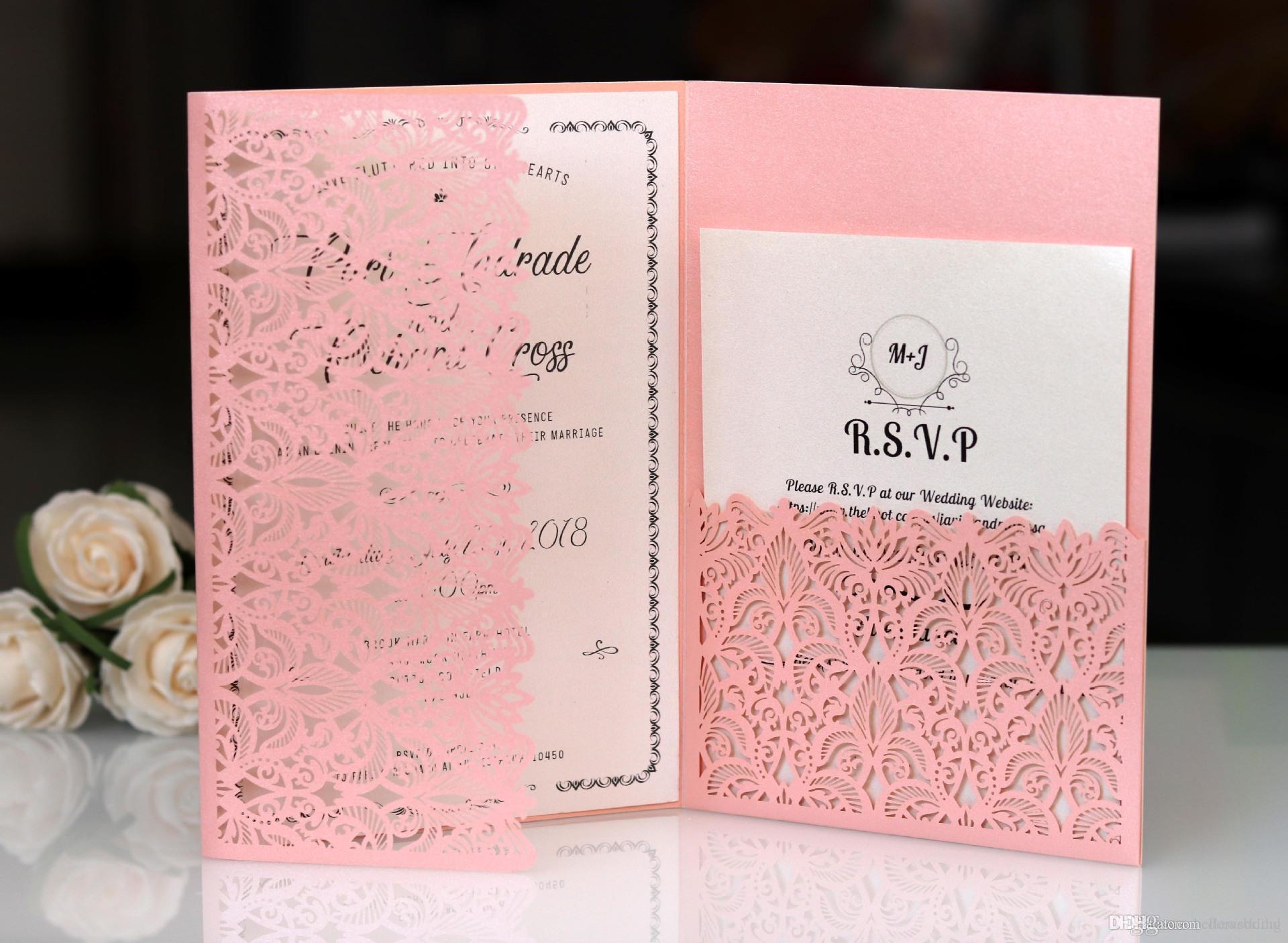 Лазерная резка свадебные приглашения с RSVP карты розовый индивидуальные цветы сложенные свадебные приглашения карты с конвертами BW-HK153P