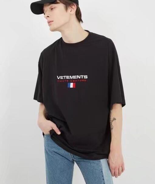 Ricamo Manica corta Vetements Maglietta Donna Uomo Migliore qualità Francia Bandiera Hiphop Top Tees VTM T Shirt