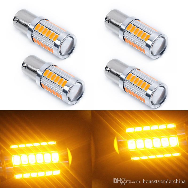 2pcs Amber 1156PY BAU15S PY21W LED 33SMD Car Tail Turn Brake Reverse Signal Bulb