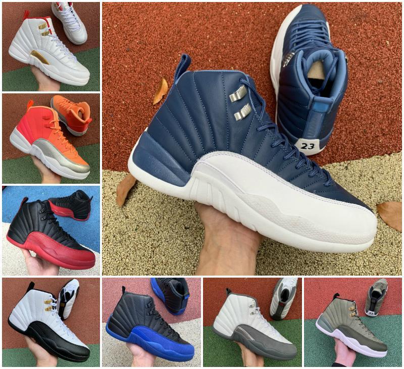 Новый 12 Камня Синего университет Золотого Reverse Flu Game Dark Concord OVO Белого Мужчины Баскетбол обувь 12s Плей Французского синие кроссовки с коробкой