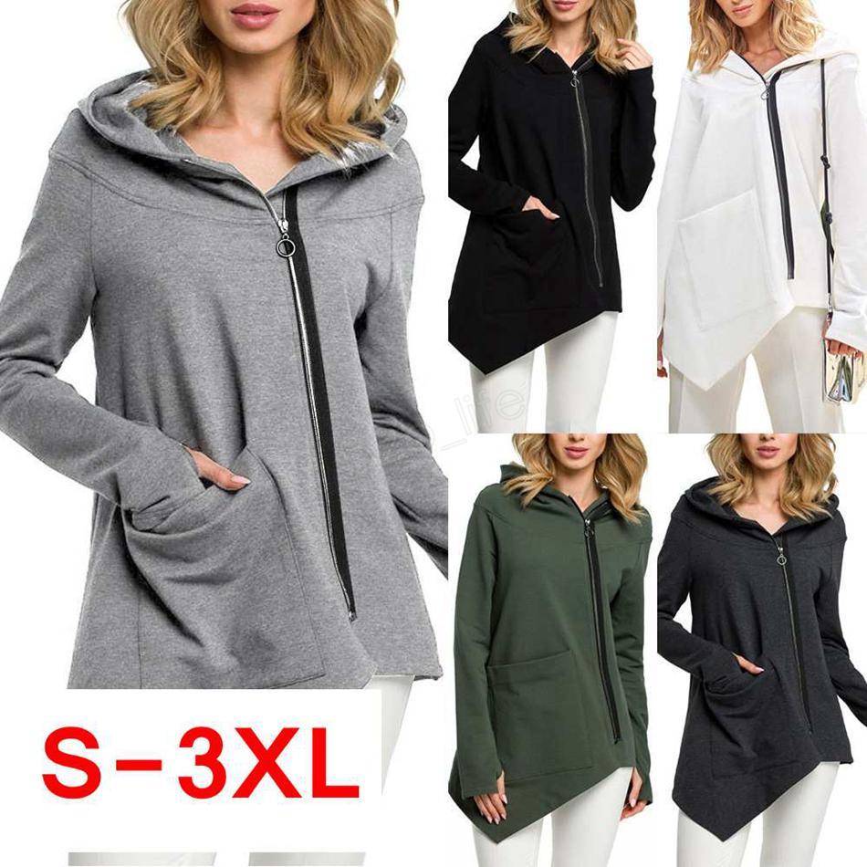여성 지퍼 불규칙한 후드 후드 스웨터 가을 겨울 솔리드 풀오버 하라주쿠 포켓 코트 LJJA2886