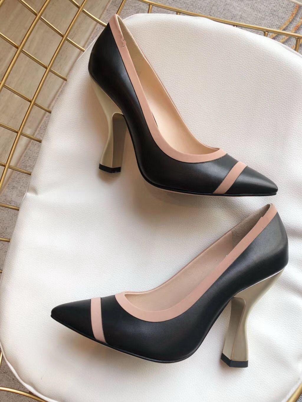 Nuova stagione della donna di modo caldo di vendita scarpe tacchi alti genuino progettista pelle con tacchi grosso scarpe da sposa vestito signora