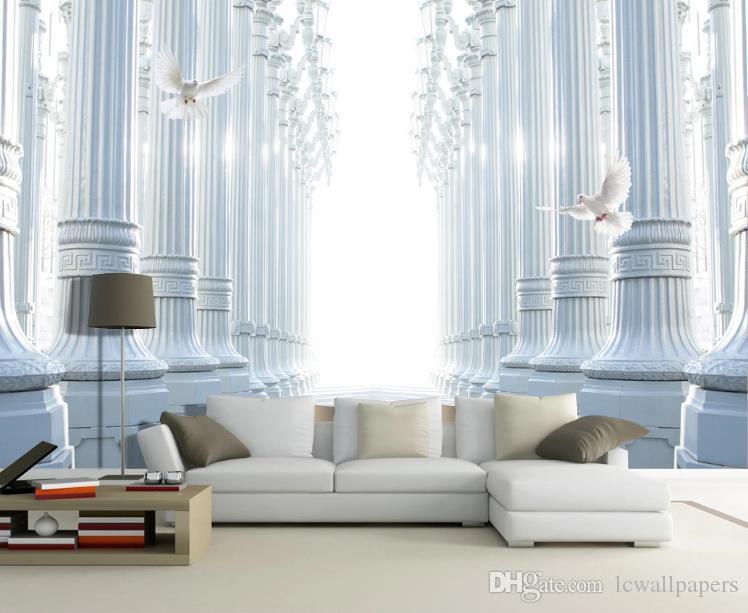 papel de pared 3D de encargo mural de salón dormitorio decoración para el hogar columna romana paloma blanca pared del fondo del papel pintado TV 3D