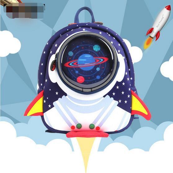 Bsci audit factory small bag cartoon rocket kindergarten 1-3-6 years old children anti-lost backpack