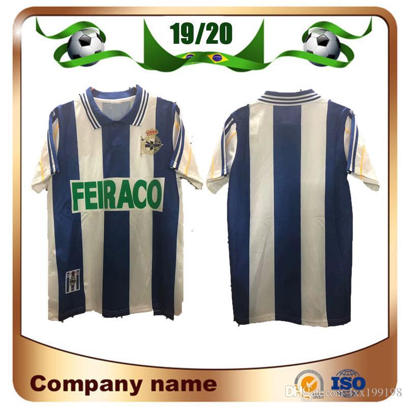 1999/2000 Real Club Deportivo de la Coruna Футбол Джерси 99/00 Домашний Голубой футбол футболки Deper Униформа Продажи