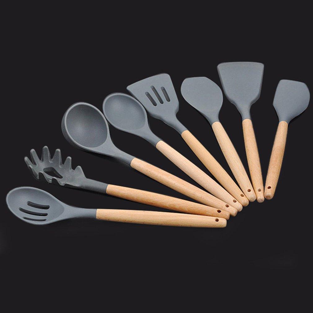 Силиконовые деревянной ручкой кухонный гарнитур 8 шт Антипригарное Шпатель набор инструментов приготовления пищи Посуда для хакера Набор