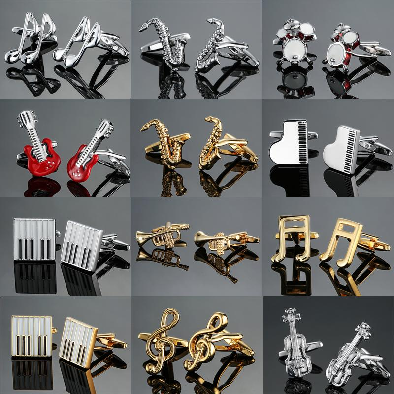 new high quality brass musical instruments Sax trumpet drum piano violin music symbol French shirt Cufflinks free shipping