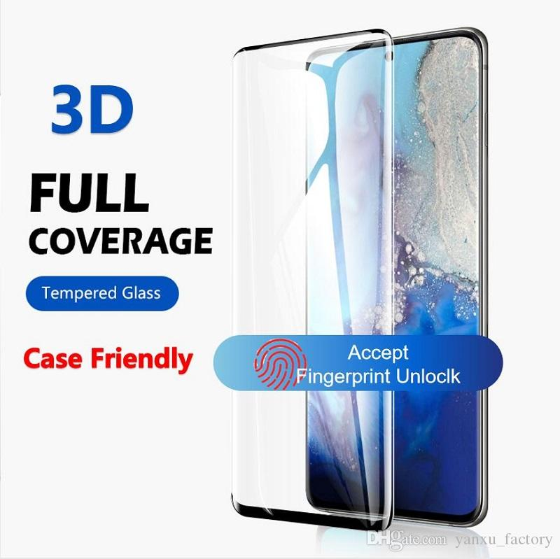 3D Curved Case Friendly Tempered Glass For Samsung Galaxy S20 Ultra S10 5G S8 S9 Plus S7edge Note 10 + Note9 8 Full Cover Screen Protector