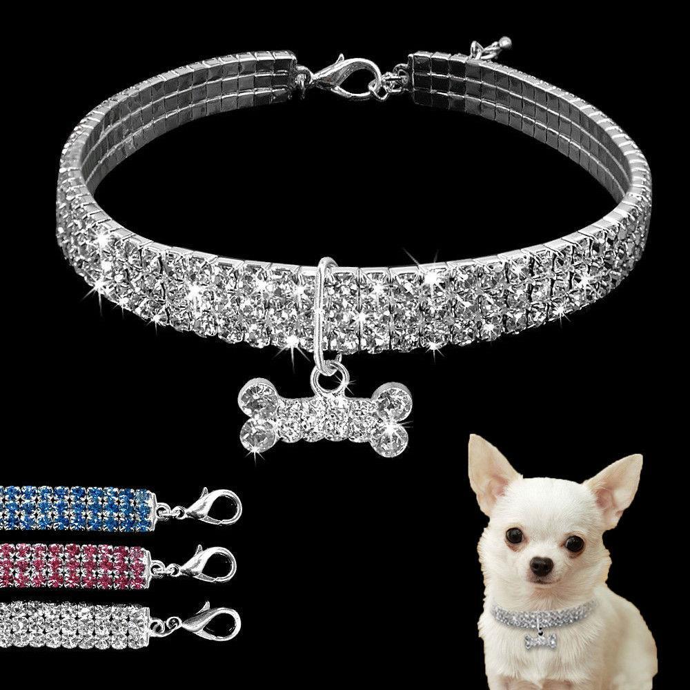 بلينغ حجر الراين الكلب القطة الأليفة الياقة كريستال جرو تشيهواهوا الياقات المقود لمتوسط الكلاب الصغيرة Mascotas الماس مجوهرات اكسسوارات S M L