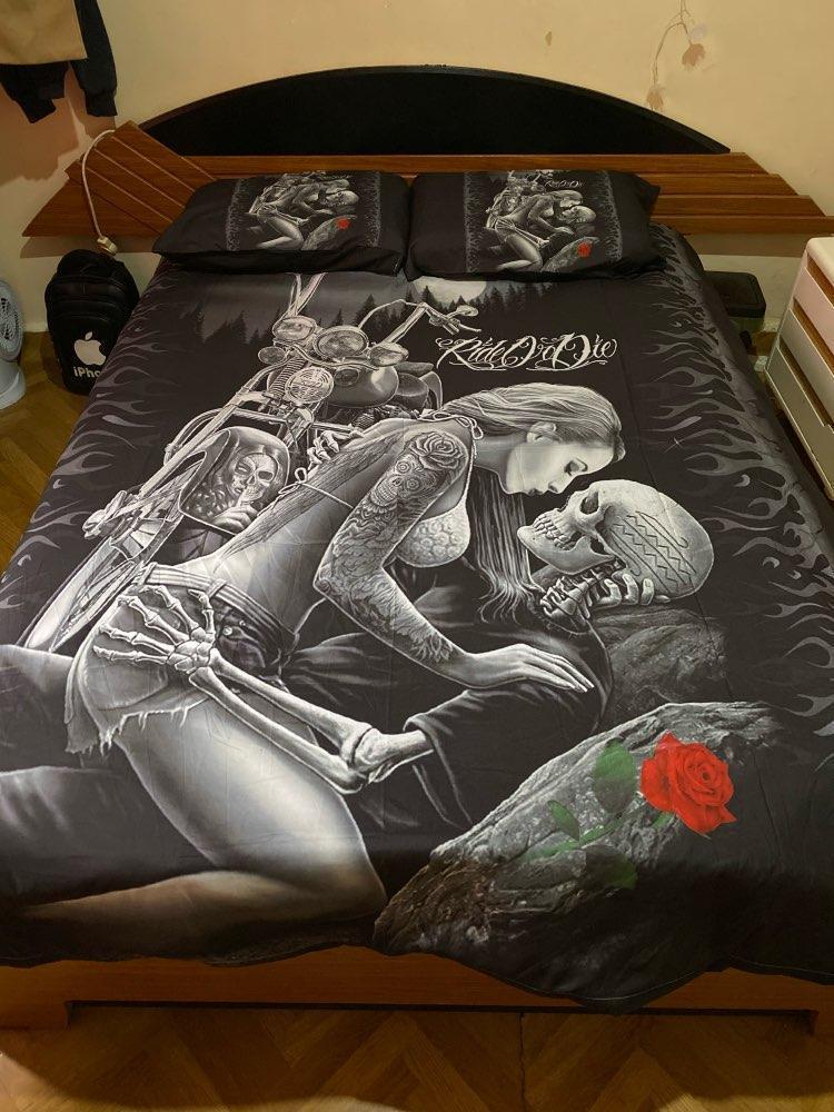 Готический череп комплект постельных принадлежностей Близнец полный королева король двойной размер одеяло обложка с наволочки постельное белье Комплект девушка Наездница