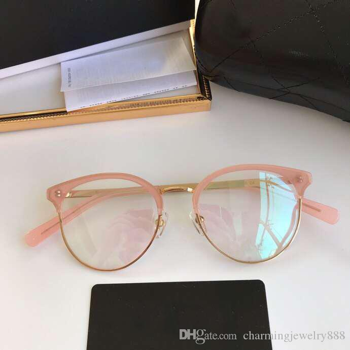 Compre 2019 Lente Limpia Gafas De Mujer Lente Simple Moda Medio Montura Gafas Gafas Diseñador De La Marca Gafas Con Estampado De Leopardo Con Caja De Damas A 48 47 Del Charmingjewelry888
