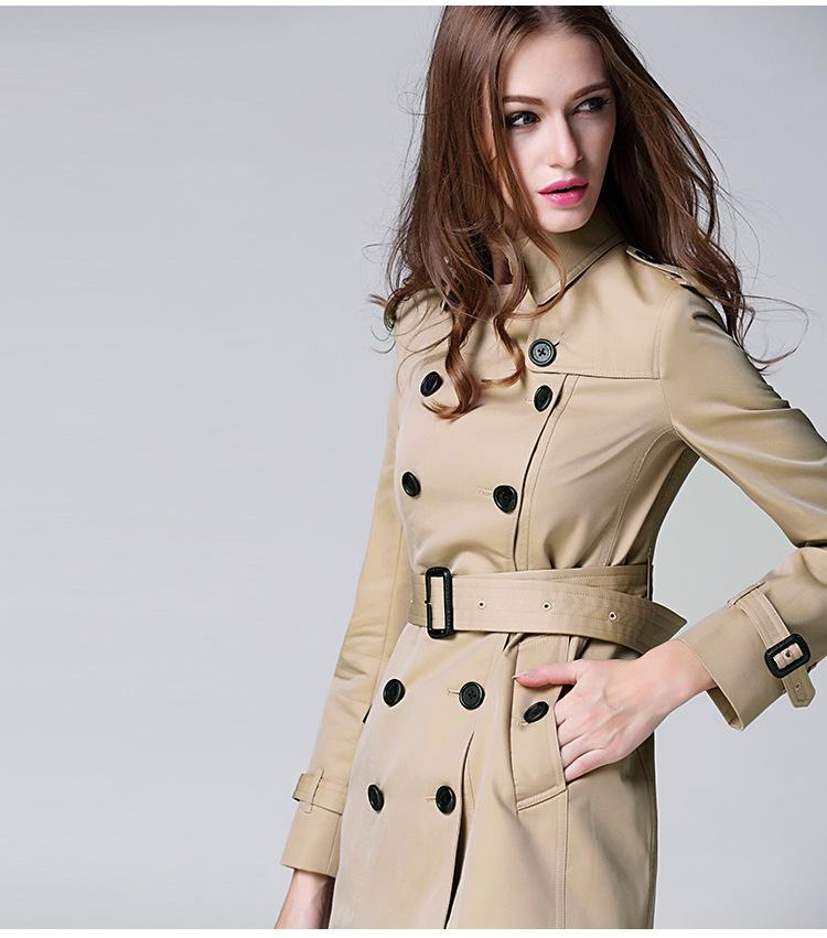 BURDULLY Autumn Women Double Breasted Long Trench Coat Khaki With Belt Classic Casual Office Lady Business Outwear Fall