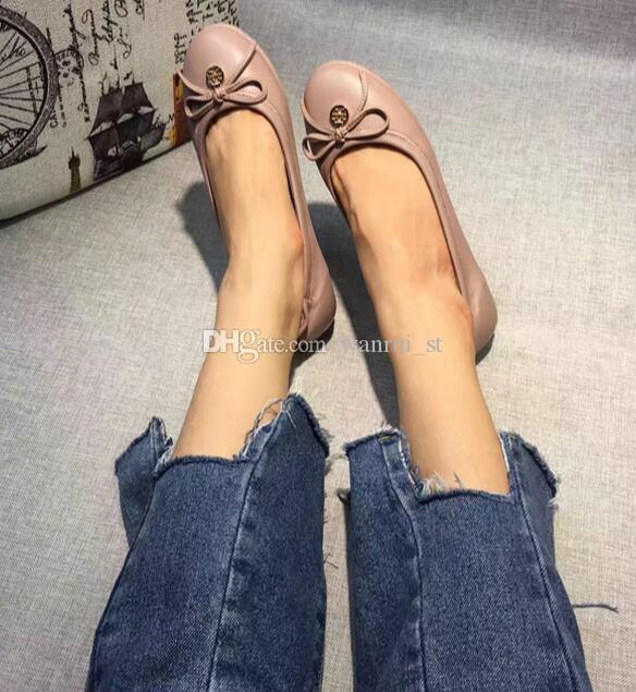 Großhandel Klassische Luxus Dame Sommer Sandalen Frauen Flache Schuh Niedrigen Ferse Echtes Leder Frauen Freizeit Ballett Schuhe EU Größe 35-42