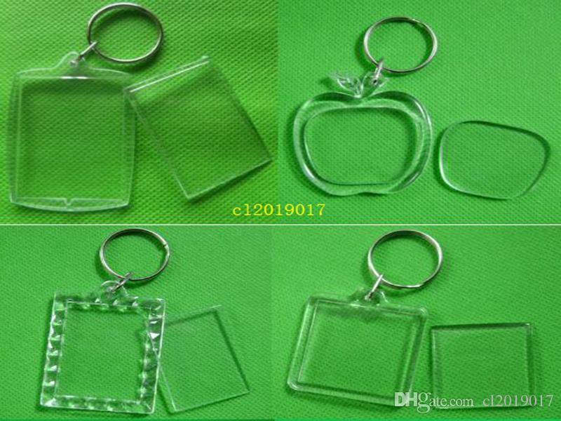 12 개 스타일 DIY 아크릴 빈 사진 키 체인 T 셔츠 모양 열쇠 고리 삽입 사진 열쇠 고리