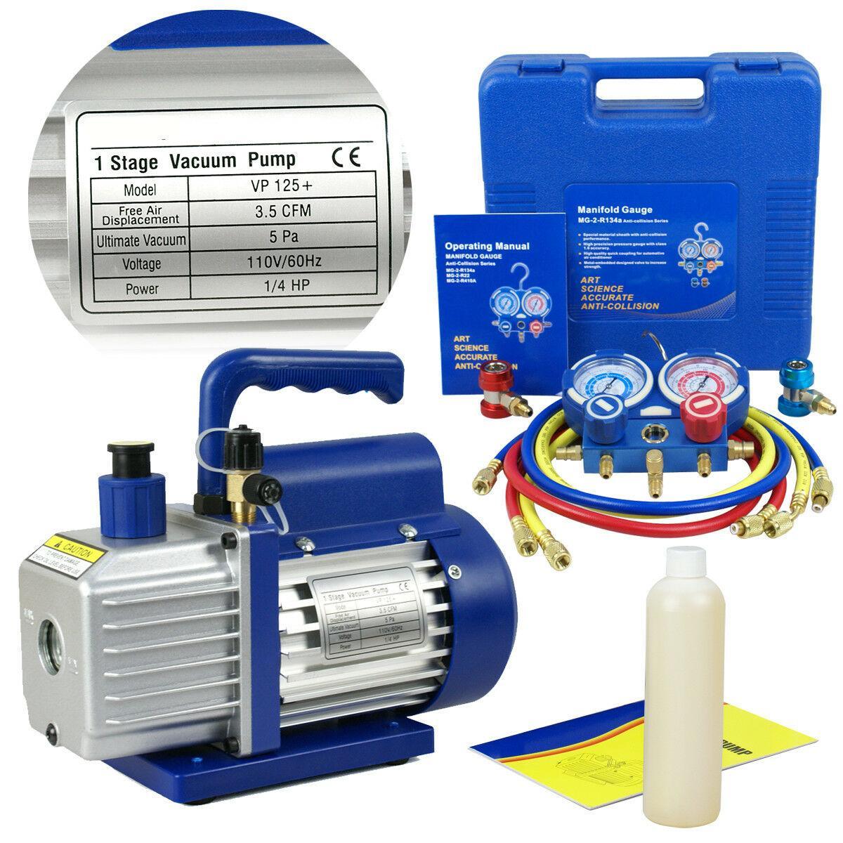 3.5 CFM 1 / 4HP de vacío Bomba de aire HVAC Refrigeración AC colector R134 R12 R22 R502