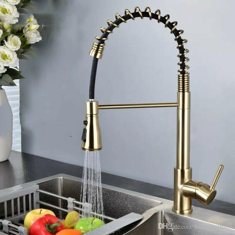 Newly Pull Out Sprayer Kitchen Brass Faucet Gold Sink Mixer Tap Vanity Swivel