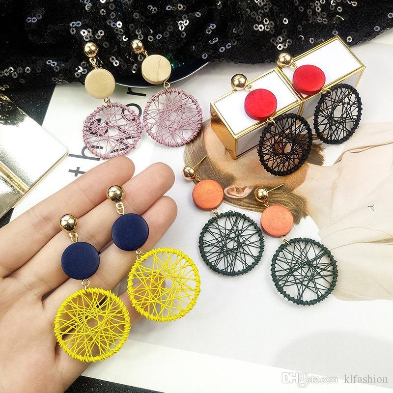 2019 nueva manera simple redondo grande cuelga los pendientes para las mujeres hueco de malla estilo coreano Los pendientes de gota cuelgan Declaración de joyería