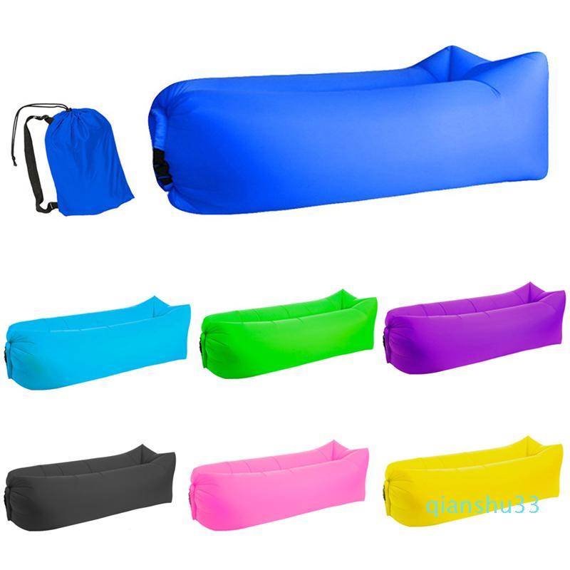 Оптовая-Light Водонепроницаемые Надувные спальные мешки ленивый диван кемпинг воздушной подушке для взрослых Beach Lounge Председатель Fast Folding