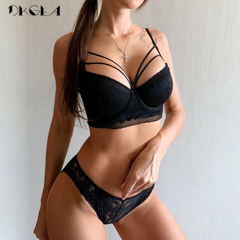 Marke Spitze Büstenhalter-Verband-Fashion Sexy BH-Set Frauen-Wäsche-Grün Stickerei Bras drücken starke Baumwollunterwäsche-Set schwarz