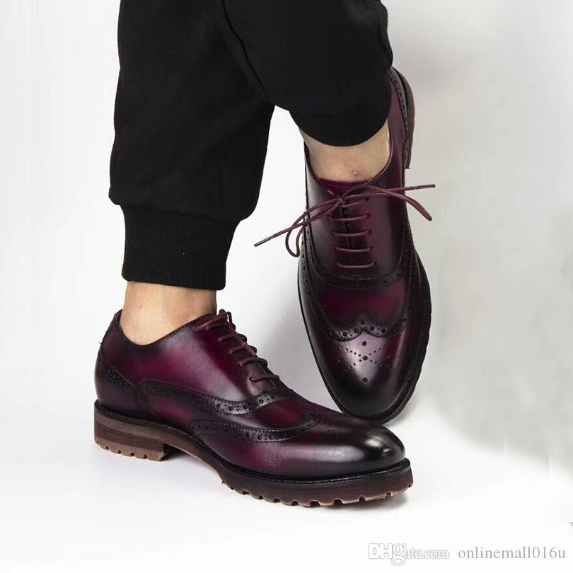 Erkekler Hakiki inek deri brogue Düğün ayakkabı erkek casual flats ayakkabı erkekler için vintage el yapımı oxford ayakkabı siyah kahverengi