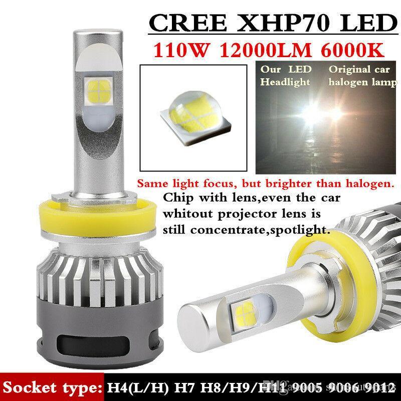 2X 100W 6000K White COB LED Chips LED Headlight Bulb H8 H9 H11 Head Light