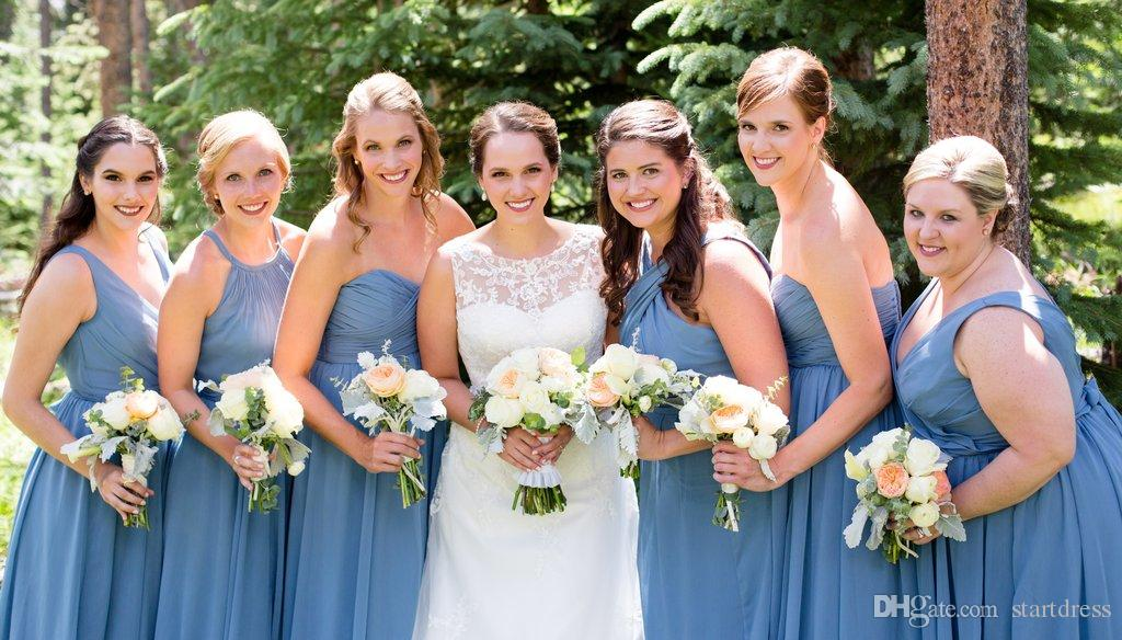 Slate Blue Mismatched Bridesmaid Dresses Sweetheart Floor Length Chiffon Country Plus Size Bridesmaids Dress Cheap Maid Of Honor Dresses Pastel