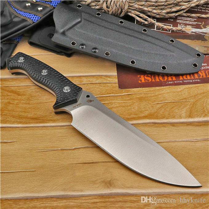 Top Quality High End Strong Survival Straight Knife A2 Steel Drop Point Satin Blade Full Tang Black G10 Handle With Kydex