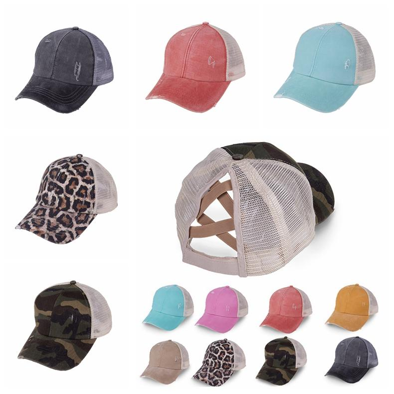 Ponytail Baseball Cap 16 Colors Messy Bun Hats For Women Washed Cotton Snapback Caps Casual Summer Sun Visor Outdoor Hat CCA12271 50pcs