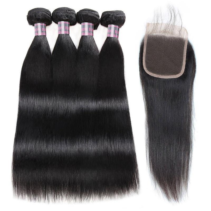스트레이트 버진 헤어 익스텐션 4x4 레이스 폐쇄 4Bundles 클로저가있는 인간의 머리카락 묶음 저렴한 좋은 품질 인간의 머리카락 짜다