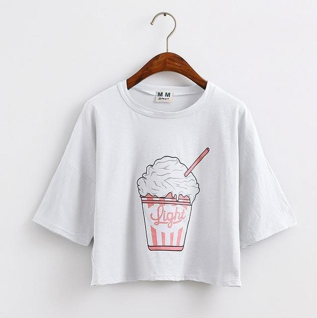 New Summer New Harajuku Women T Shirt Ice Cream Korean Style Cotton Loose Crop Tops Kawaii T -Shirt Female Tee Tops Pretty
