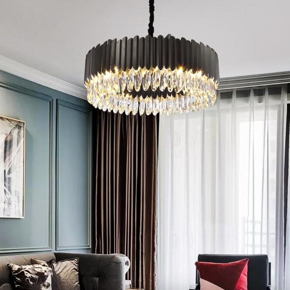 Новая современная хрустальная люстра роскошная золотая / черный гостиная зал люстра круглой хрустальный светильник спальня цепь кулон
