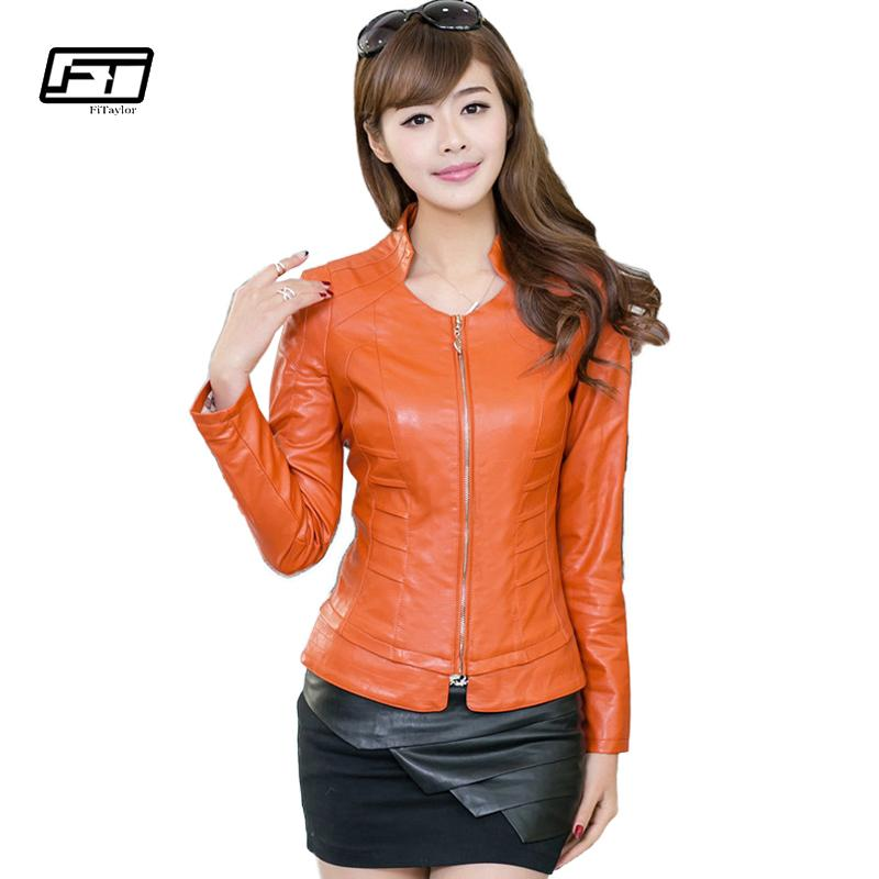 Fitaylor 2017 Autumn Women Pu Leather Jacket Solid Slim Short Paragraph Motorcycle Ladies Leather Jackets Mandarin Collar Blazer