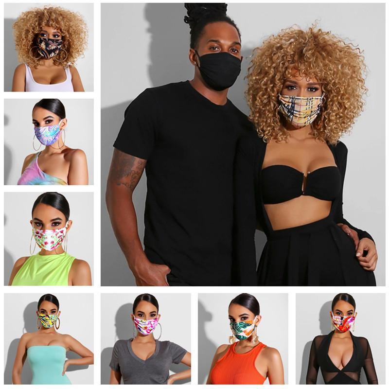 Double Layer Maschera Foral Stampa antipolvere Anti-UV Maschere stilista Donne Bocca-muffola lavabile traspirante Face Uomini Mask 25 Stile