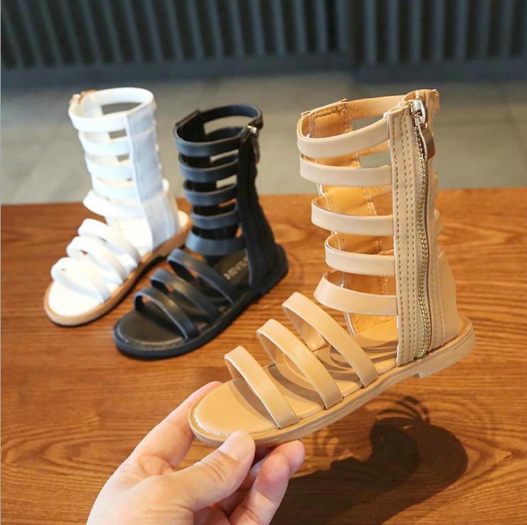 Sandales d'enfants Filles Chaussures en cuir Mode Princesse filles Chaussures d'été Bottes Roman teenages Chaussures de plage sandales pour filles tout-petits