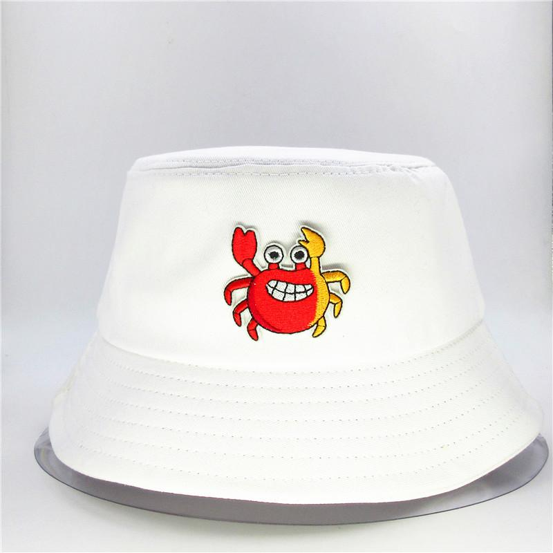 2020 new style Cartoon crab embroidery Bucket Hat Fisherman Hat outdoor travel Sun Cap Hats for men and Women 102