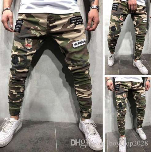 2020 посвященный новым мужским джинсам значок стрейч Slim Fit плотный эластичный фут камуфляж ноги брюки NK74
