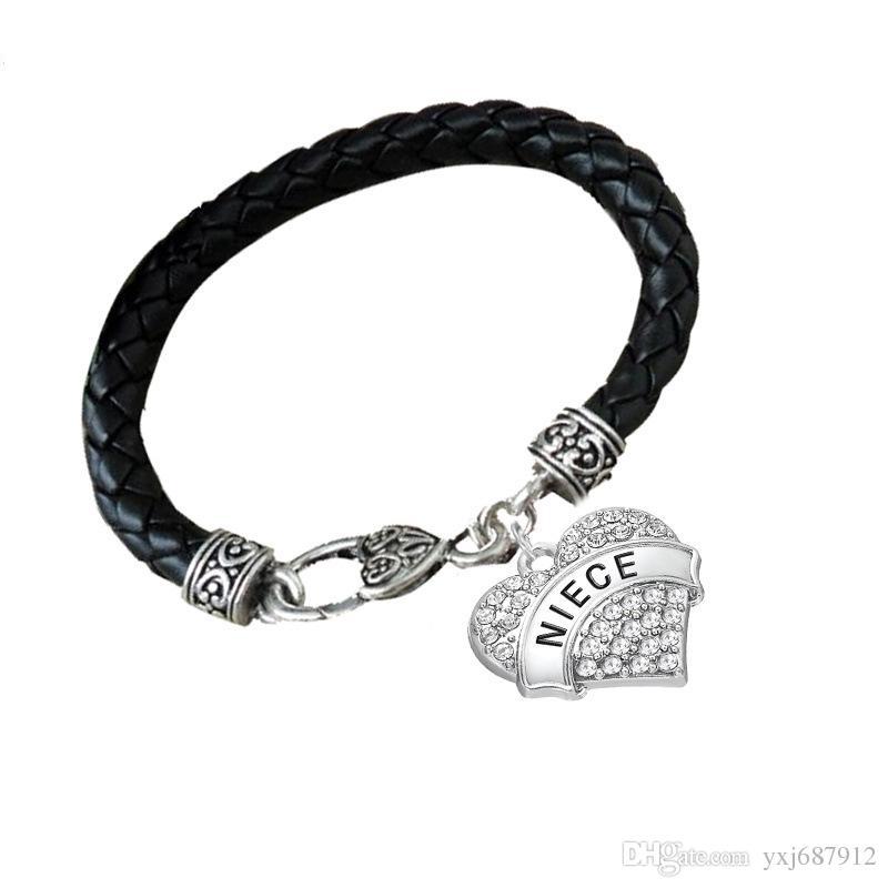 BT2 nueva coreana en forma de corazón colgante de corazón hecho a mano pulsera de cuero tejido letra NIECE colgante