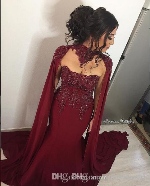 Sirène Musulmane Bourgogne élégante Soirée Robes De Soirée 2018 Robes Occasionnelles Formelles Robes De Cocktail Longues Robes De Bal Avec Des Perles