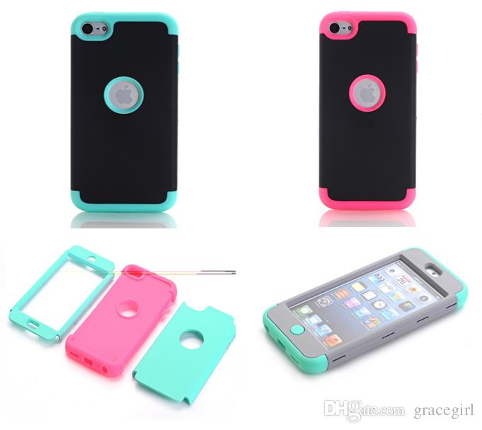 For Apple Ipod Touch 5 6 Touch6 IPhone 5 5S 5C 6 7 Plus Armor Case Impact TPU PC Hard Combo Hybrid 3 in 1 Heavy Duty Dual Color Rubber Cover