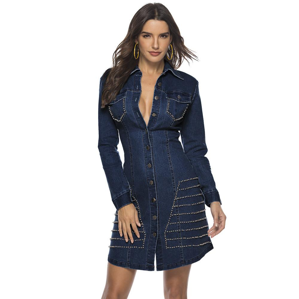 Rivet Patchwork Casual Denim Dress Women Turn Down Collar Long Sleeve Package Hip Dress Vintage Single-Breasted Plus Size Dress NZK-1564
