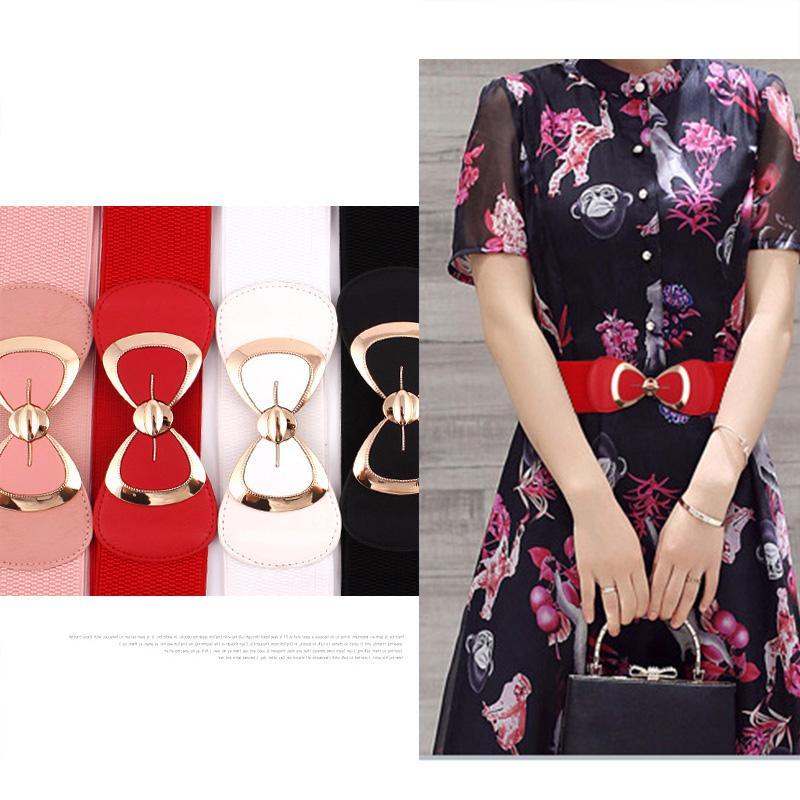 Новая мода женщины бабочка лук бантом пряжка пояс широкий эластичный стрейч поясной ремень для женщин платье аксессуары 6 цветов
