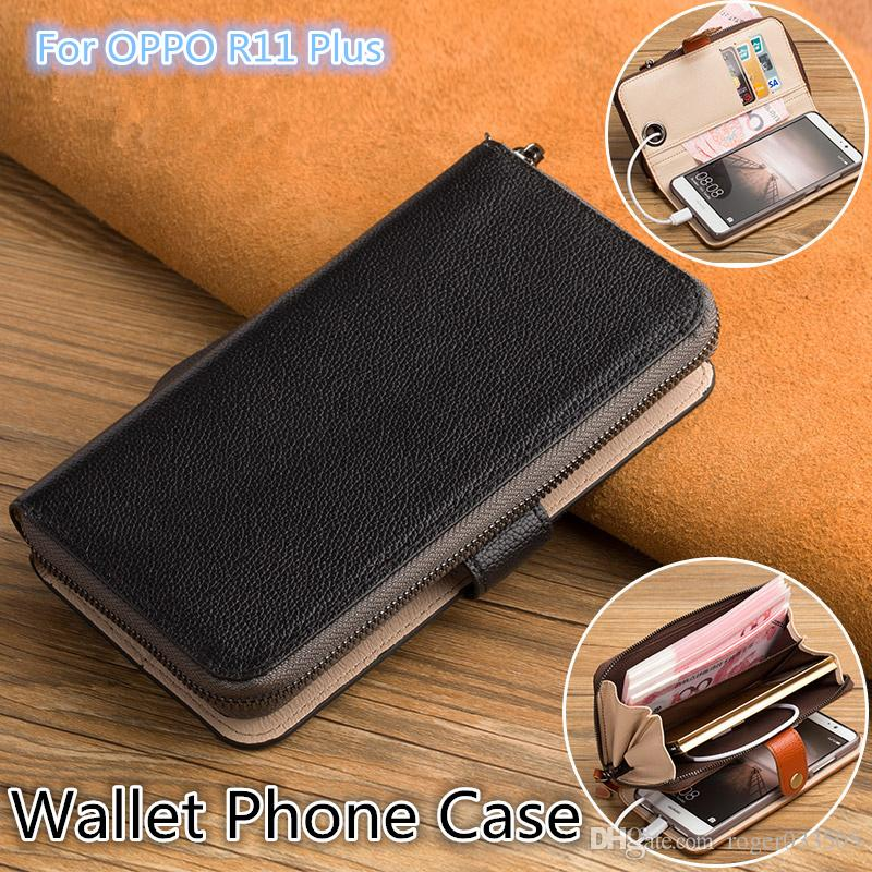 QX06 Genuine Leather Multi-Function Phone Bag For OPPO R11 Plus Wallet Case For OPPO R11 Plus Wallet Phone Case Kickstand