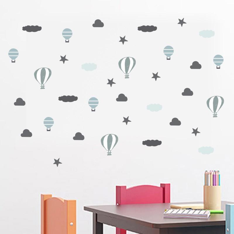 da parede da sala de pára-quedas de ar quente balão traseiro engraçado Nuvem Estrelas INS Nordic Estilo de berçário dos miúdos Mural decalques decoração Home
