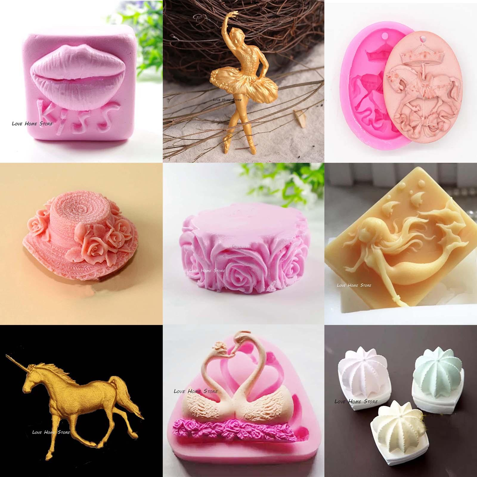 3D DIY mixed Silicone Molds Decoration Fondant chocolate Jelly ICE biscuit Cake candle Decorating Baking Tools handmade soap mold